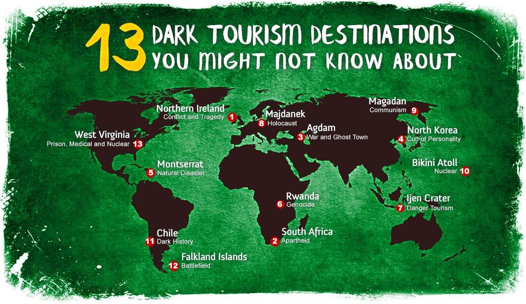 Infographic map of dark toursim destinations