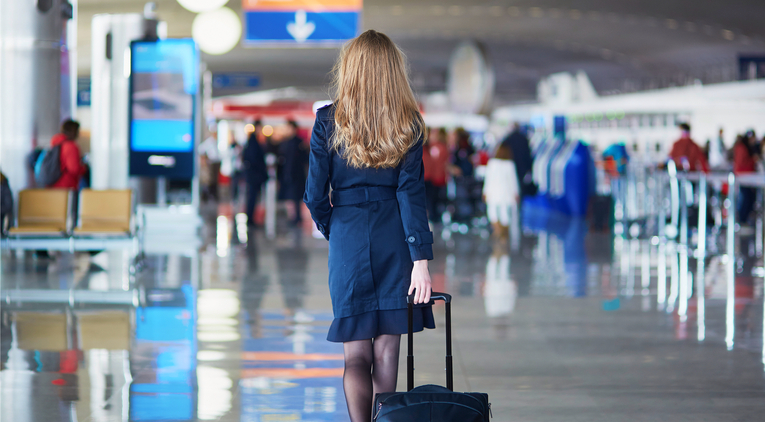 Air hostess in airport
