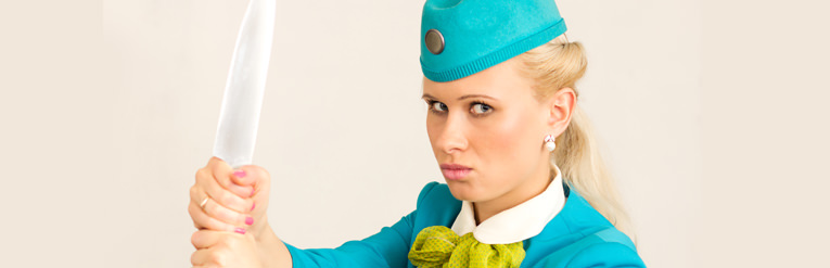 Air hostess looking angry