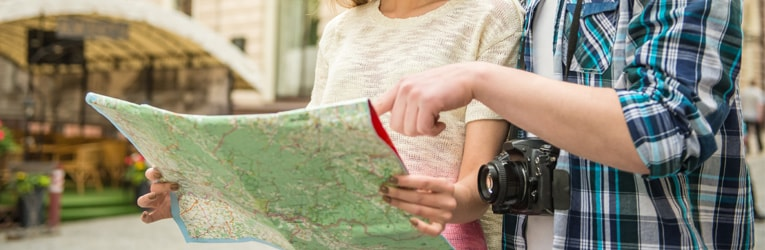 Tourists reading a map